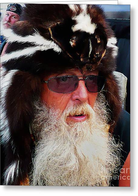Rally Greeting Cards - The Old Biker Stare Greeting Card by Terril Heilman