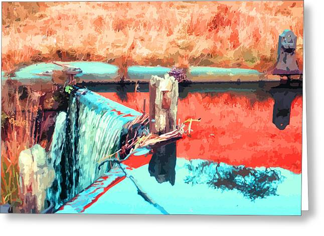 Shades Of Red Greeting Cards - The Old Canal Lock  Greeting Card by Elizabetha Fox