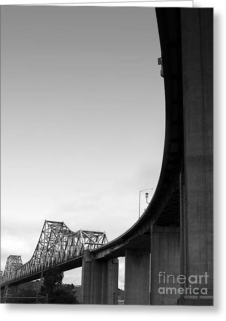 Benicia Greeting Cards - The Old Carquinez Bridge . Black and White . 7D8832 Greeting Card by Wingsdomain Art and Photography