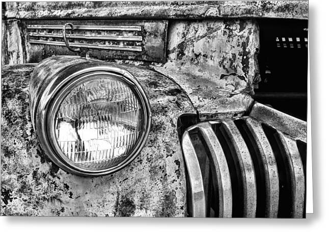 Chevrolet Truck Greeting Cards - The Old Chevy Truck Black and White Greeting Card by JC Findley