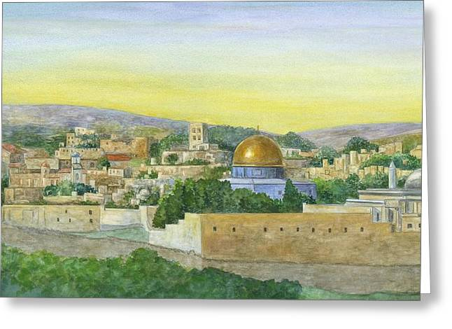 The Old City Greeting Card by Robert Casilla