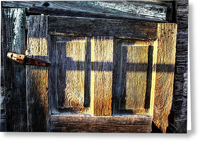 Sunset Over The Village Greeting Cards - The old door Greeting Card by David Matthews