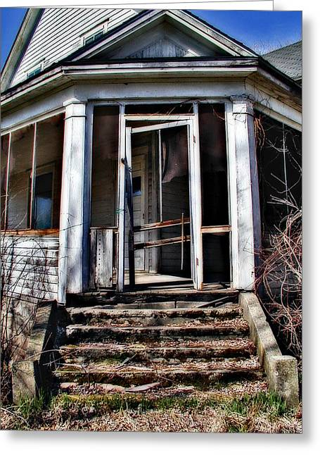 Screen Doors Greeting Cards - The Old Door Hangs on the Edge Greeting Card by Laurie With