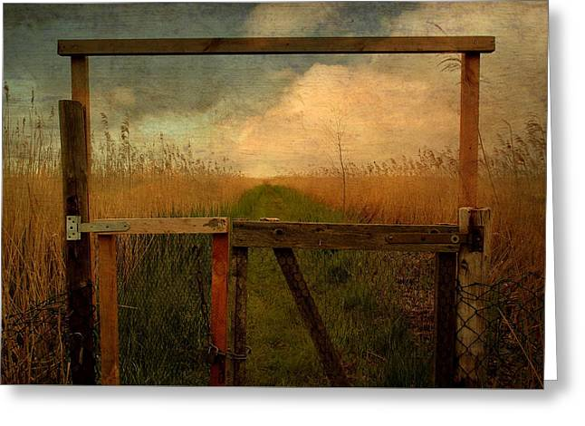 Summer Storm Greeting Cards - The Old Door Greeting Card by Heike Hultsch