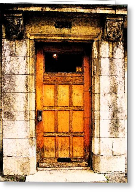 Streets Of Montreal Greeting Cards - The Old Door Greeting Card by Reb Frost