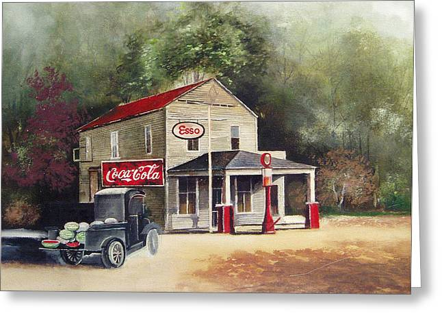 Esso Greeting Cards - The Old Esso Station Greeting Card by Charles Roy Smith