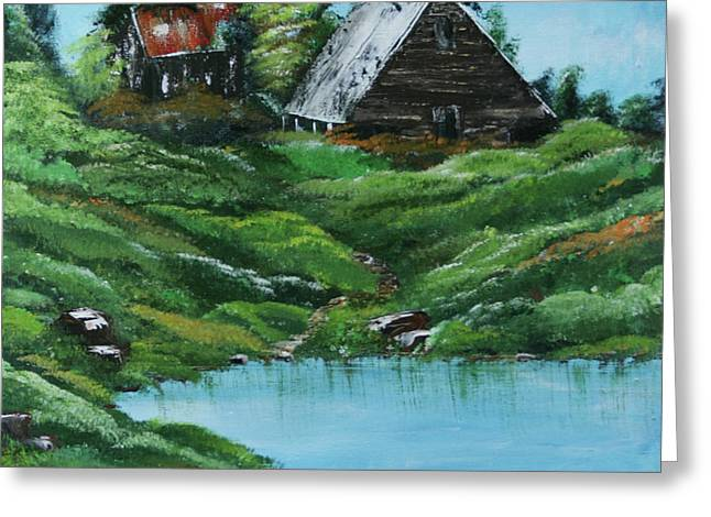 Run Down Paintings Greeting Cards - The Old Farm Greeting Card by Robin Lee