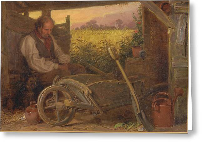 The Old Gardener Greeting Card by Briton Riviere