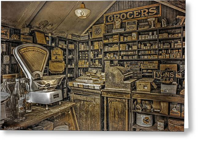 The Old Grocers Greeting Card by Mal Bray