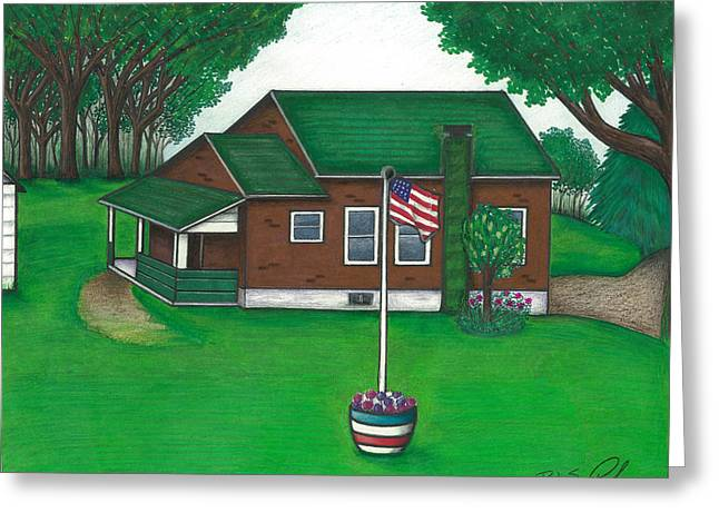 The Old Knob Schoolhouse Greeting Card by Robert Slee