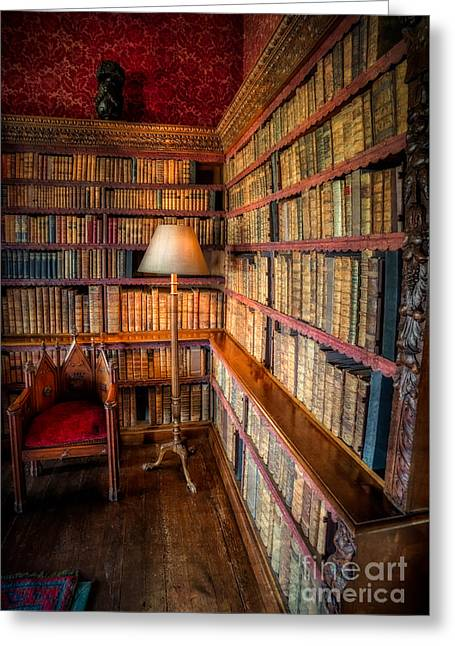 Old Rug Greeting Cards - The Old Library Greeting Card by Adrian Evans