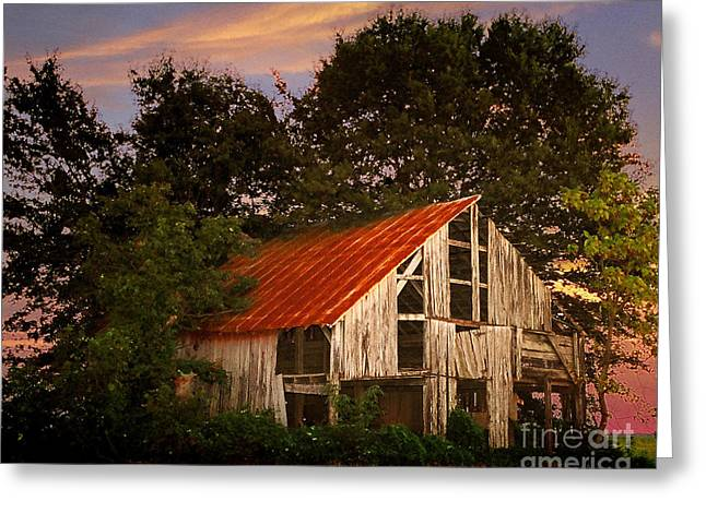 Red Roofed Barn Greeting Cards - The Old Lowdermilk Barn - red roof barn rustic country rural antique Greeting Card by Jon Holiday
