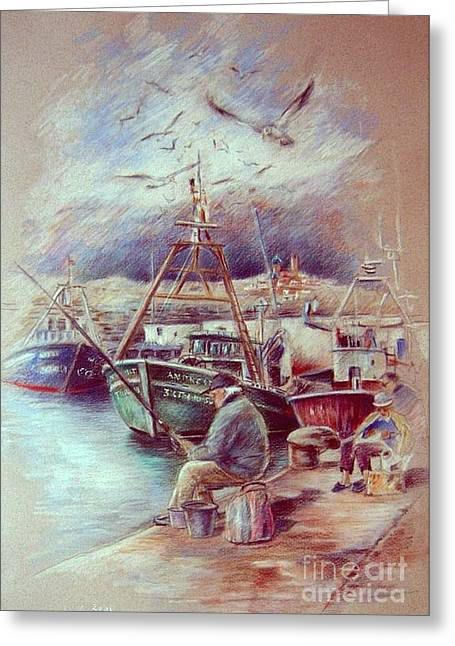Costa Drawings Greeting Cards - The Old Man and The Sea 02 Greeting Card by Miki De Goodaboom