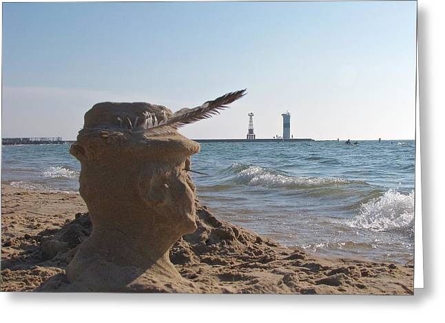 Sand Castles Greeting Cards - The Old Man and the Sea  Greeting Card by Jane Greiner