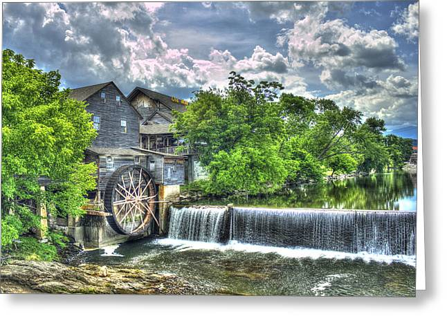 Antebellum Greeting Cards - The Old Mill Pigeon Forge TN Greeting Card by Reid Callaway