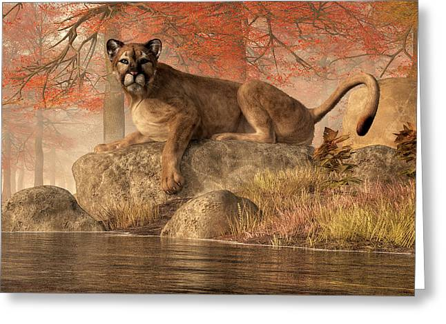 The Old Mountain Lion Greeting Card by Daniel Eskridge