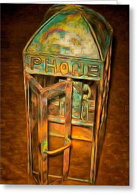 Telephone Sculptures Greeting Cards - The Old Phone Booth Greeting Card by Mario Carta