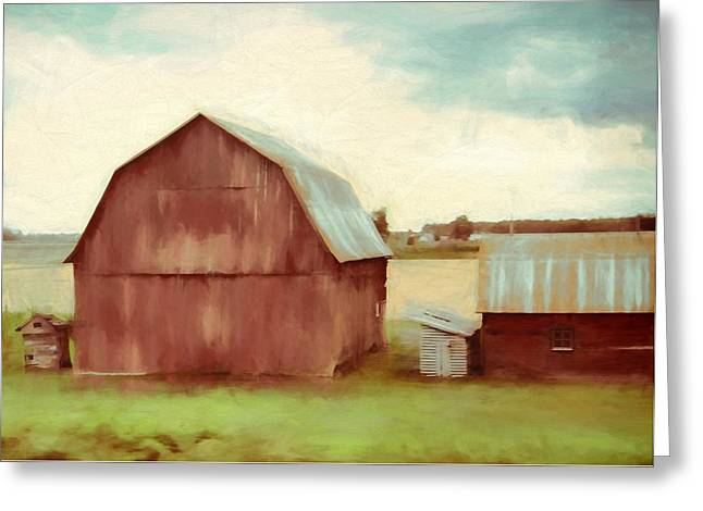 The Old Red Barn Greeting Card by Dan Sproul