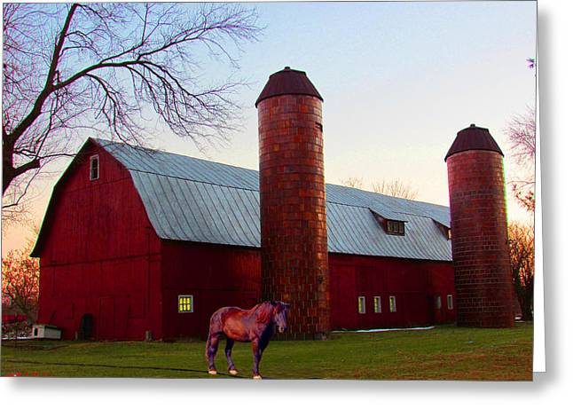 Doghouse Greeting Cards - The Old Red Barn Greeting Card by Michael Rucker