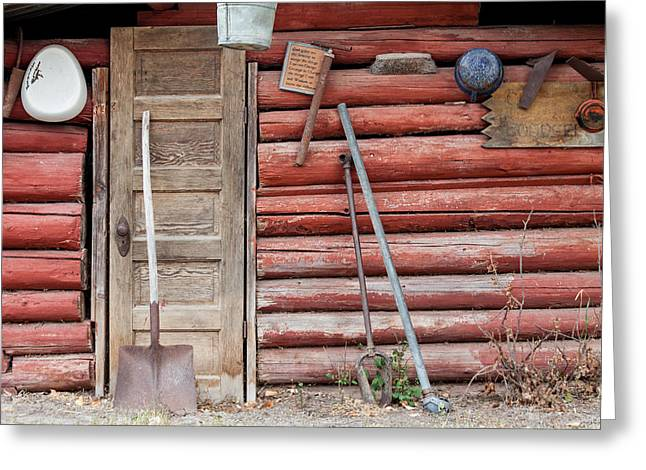 Log Cabins Greeting Cards - The Old Red Cabin Greeting Card by Fran Riley