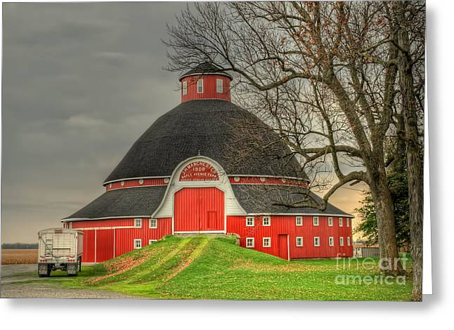 The Old Round Barn Of Ohio Greeting Card by Pamela Baker