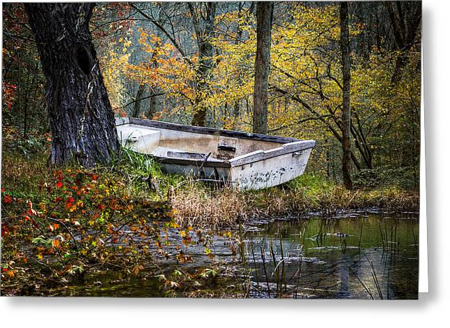 White River Scene Greeting Cards - The Old Rowboat Greeting Card by Debra and Dave Vanderlaan