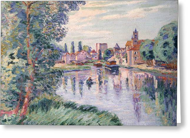 Guillaumin; Jean Baptiste Armand (1841-1927) Greeting Cards - The Old Samois Greeting Card by Jean Baptiste Armand Guillaumin
