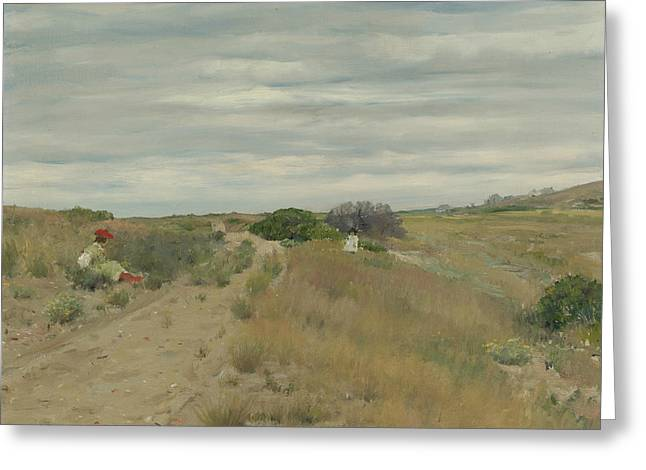 The Old Sand Road Greeting Card by William Merritt Chase