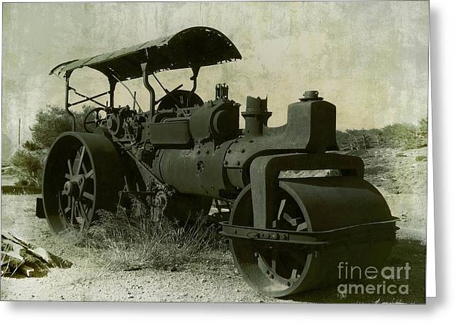 Industrial Pyrography Greeting Cards - The Old Steam Roller Greeting Card by Christo Christov