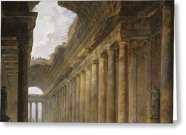 The Old Temple Greeting Card by Hubert Robert