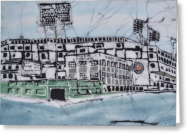 Baseball Tapestries - Textiles Greeting Cards - The Old Tiger Stadium Greeting Card by Kate Ford