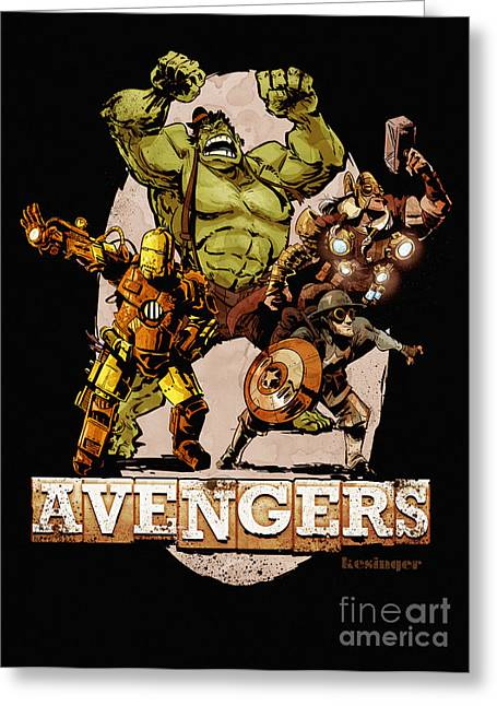 Thor Greeting Cards - The Old Time-y Avengers Greeting Card by Brian Kesinger