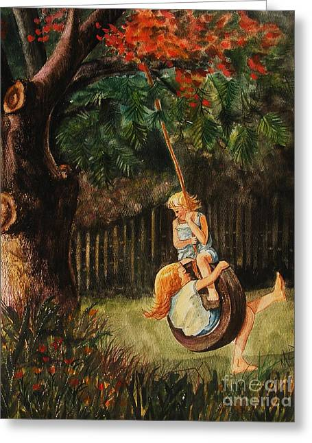 Child Swinging Paintings Greeting Cards - The Old Tire Swing Greeting Card by Marilyn Smith