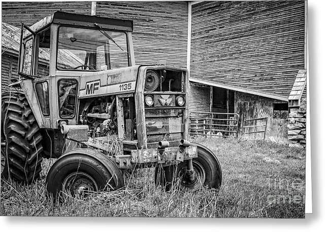 Round Barn Greeting Cards - The Old Tractor by the Old Round Barn Greeting Card by Edward Fielding