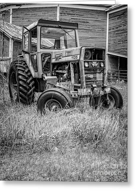 Farming Barns Greeting Cards - The Old Tractor by the Old Round Barn II Greeting Card by Edward Fielding