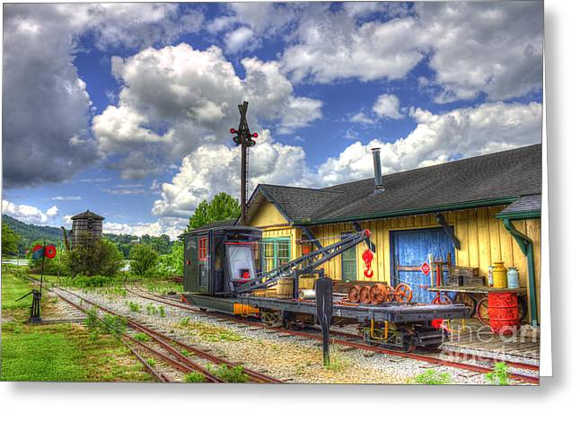 Csx Greeting Cards - The Old Train Station and Water Tower Greeting Card by Reid Callaway