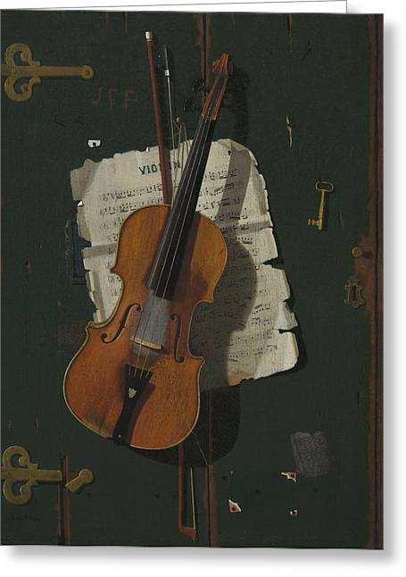The Old Violin Greeting Card by John Frederick Peto