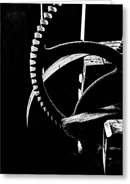 Saw Greeting Cards - The old wheel in black and white Greeting Card by Toppart Sweden