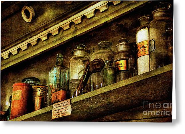 Glass Bottle Greeting Cards - The Olde Apothecary Shop Greeting Card by Lois Bryan