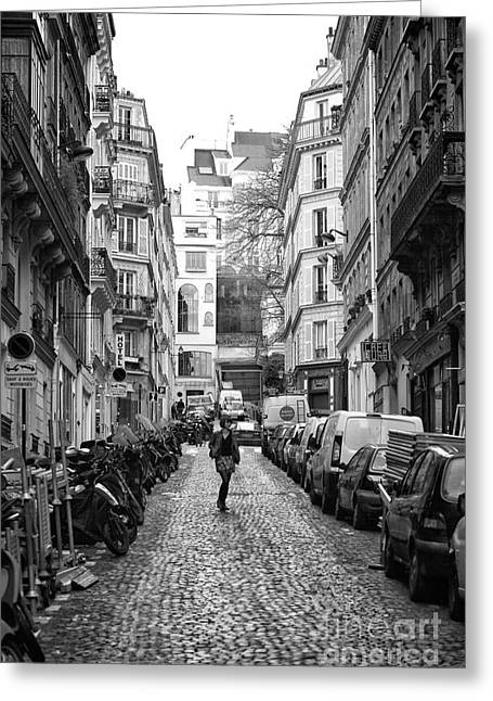 Walking Down The Street Greeting Cards - The One in Paris Greeting Card by John Rizzuto