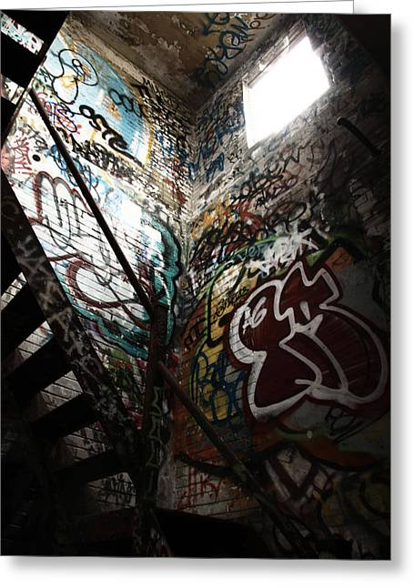 Graffiti Steps Greeting Cards - The Only Way Out  Greeting Card by Kreddible Trout