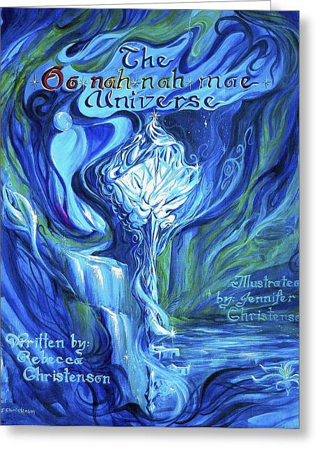 Platonic Greeting Cards - The Oonahnahmae Universe Book Cover Greeting Card by Jennifer Christenson