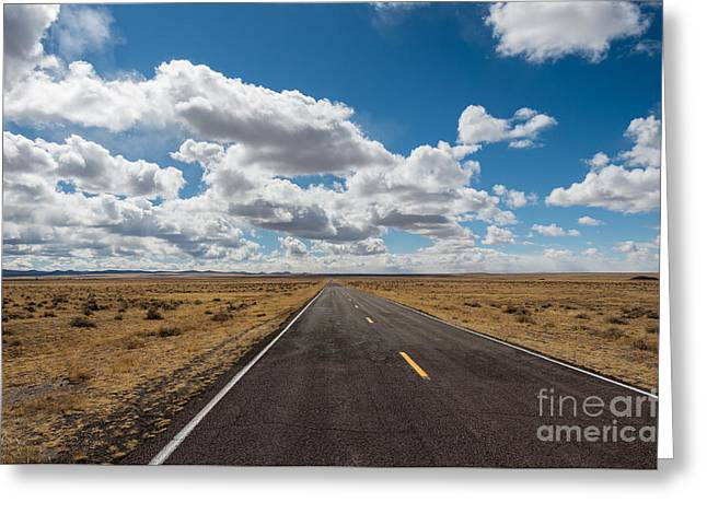 Mountain Road Greeting Cards - The open road Greeting Card by David March