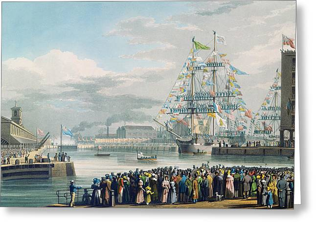The Opening Of Saint Katharine Docks Greeting Card by Edward Duncan