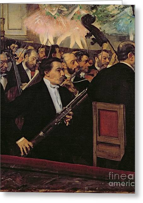 Bass Player Greeting Cards - The Opera Orchestra Greeting Card by Edgar Degas