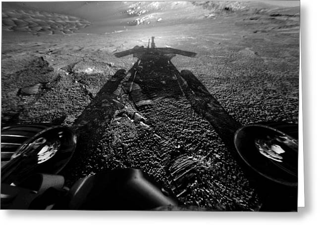 Transmit Greeting Cards - The Opportunity Rover On The Edge Greeting Card by Nasa