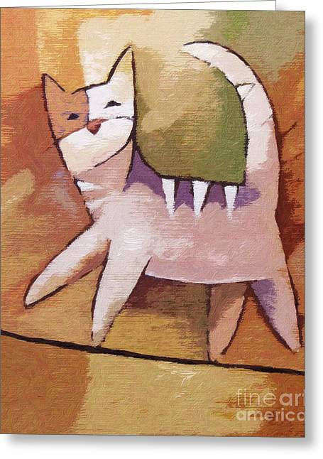 Cat Mixed Media Greeting Cards - The Optimist Greeting Card by Lutz Baar