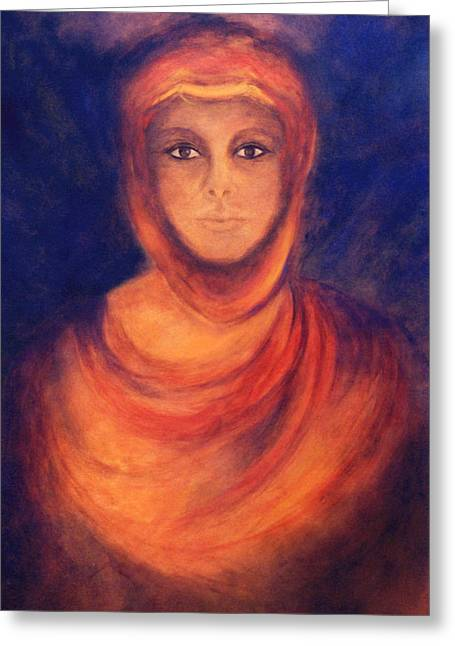 Spiritual Portrait Of Woman Greeting Cards - The Oracle Greeting Card by Marina Petro