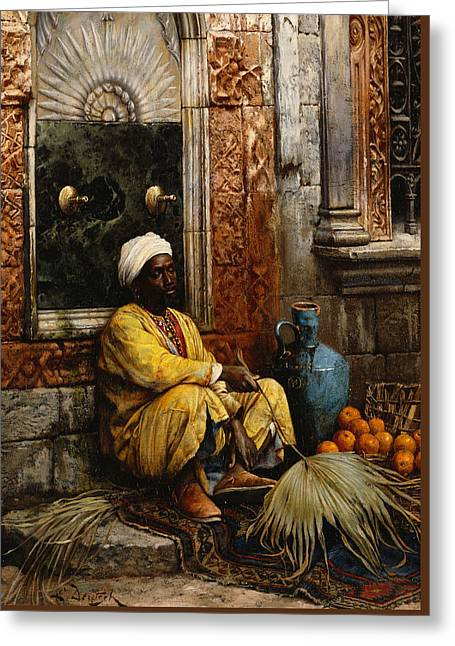 Tap Greeting Cards - The Orange Seller Greeting Card by Ludwig Deutsch