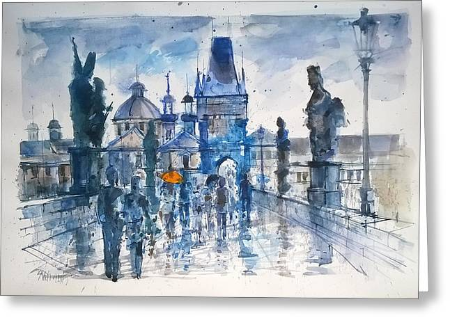 Charles Bridge Drawings Greeting Cards - The orange umbrella Greeting Card by Lorand Sipos